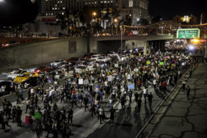 LOS ANGELES, CALIF. -- THURSDAY, NOVEMBER 10, 2016: Anti-Trump protesters flood the 101 freeway as they protest the President-Elect Donald Trump in Los Angeles, Calif., on Nov. 10, 2016. (Marcus Yam / Los Angeles Times via Getty Images)