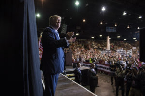 SARASOTA, FL - NOVEMBER 7: Republican presidential candidate Donald Trump walks out to speak during a campaign event at Robarts Arena at the Sarasota County Fairgrounds in Sarasota, FL on Monday November 07, 2016. (Photo by Jabin Botsford/The Washington Post via Getty Images)